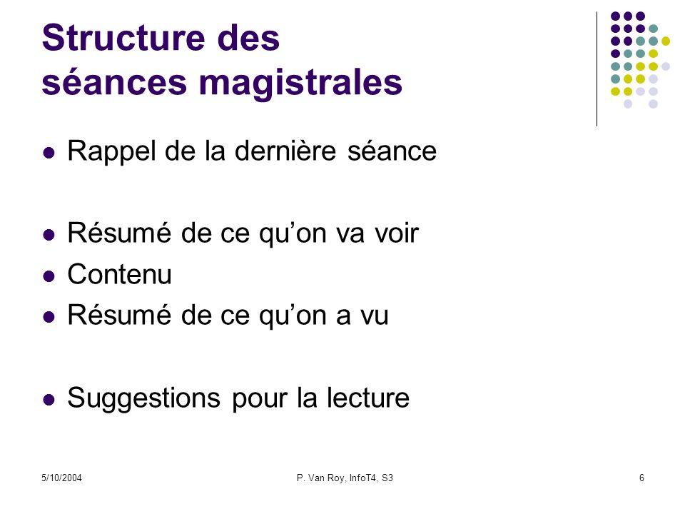 Structure des séances magistrales