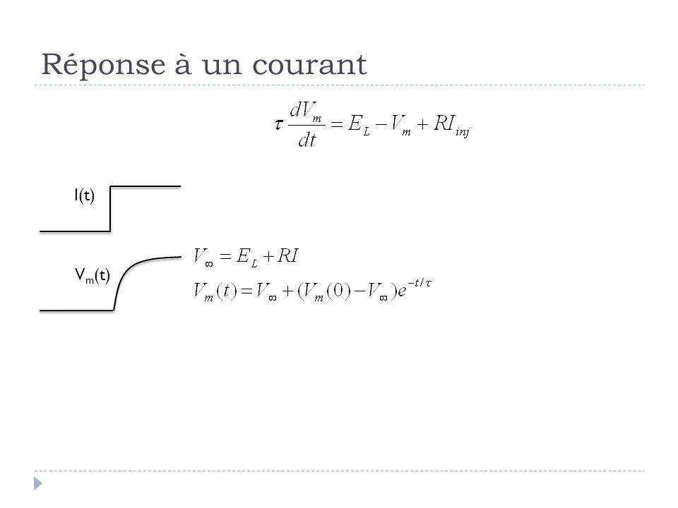 Réponse à un courant I(t) Vm(t) Au tableau: faire le calcul