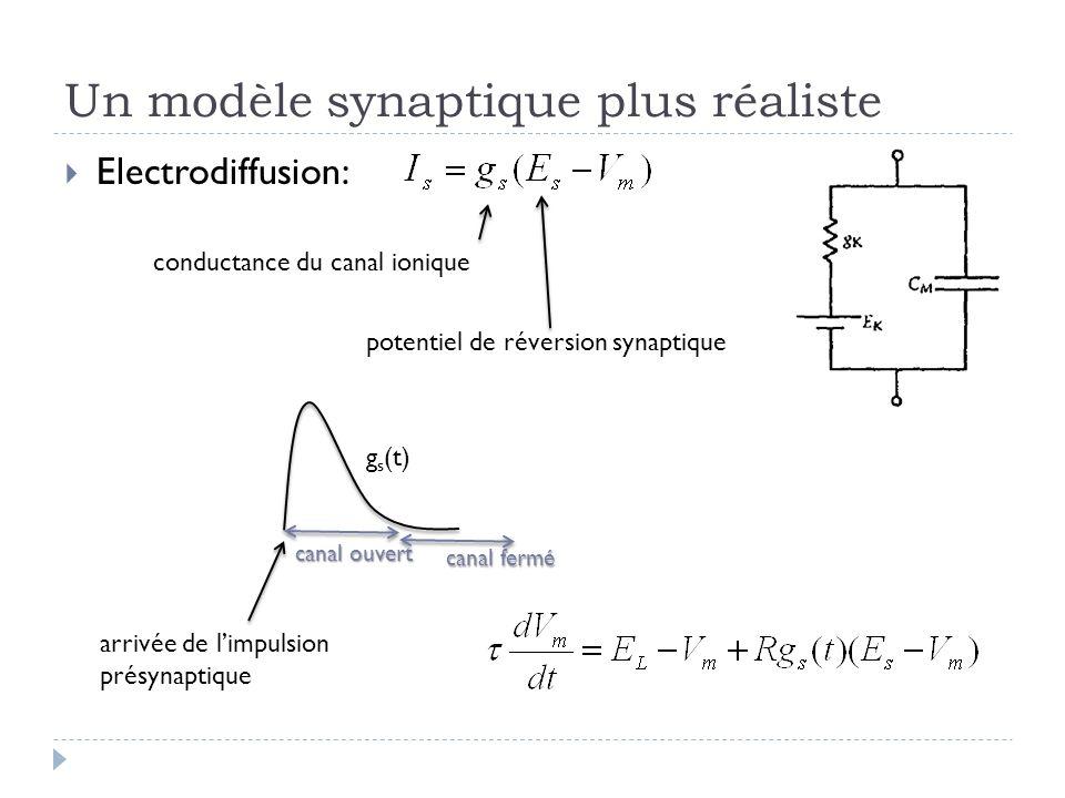 Un modèle synaptique plus réaliste