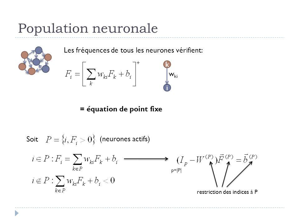 Population neuronale Les fréquences de tous les neurones vérifient: k