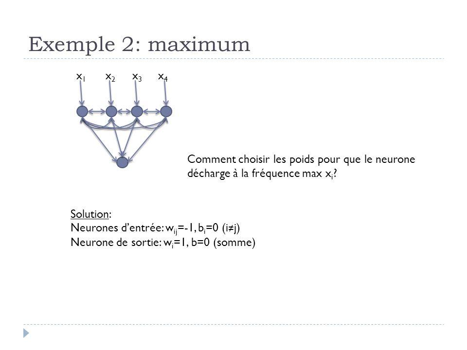 Exemple 2: maximum x1. x2. x3. x4. Comment choisir les poids pour que le neurone décharge à la fréquence max xi