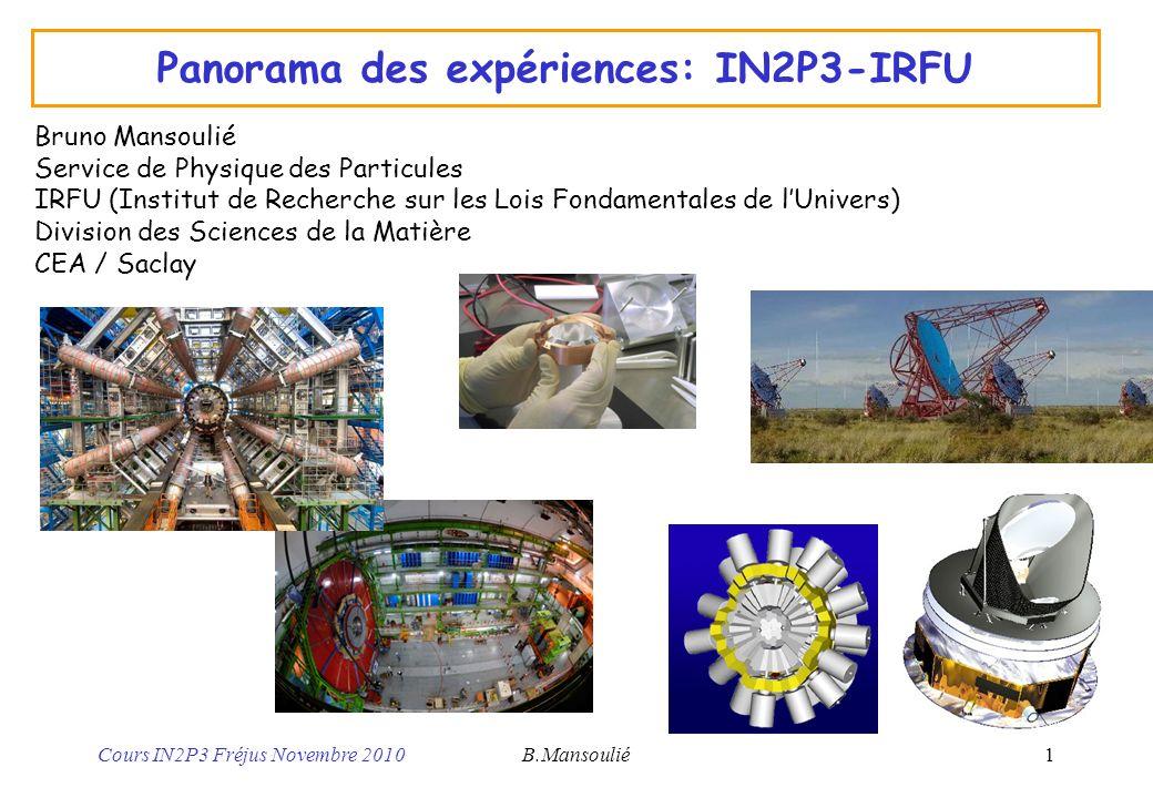Panorama des expériences: IN2P3-IRFU