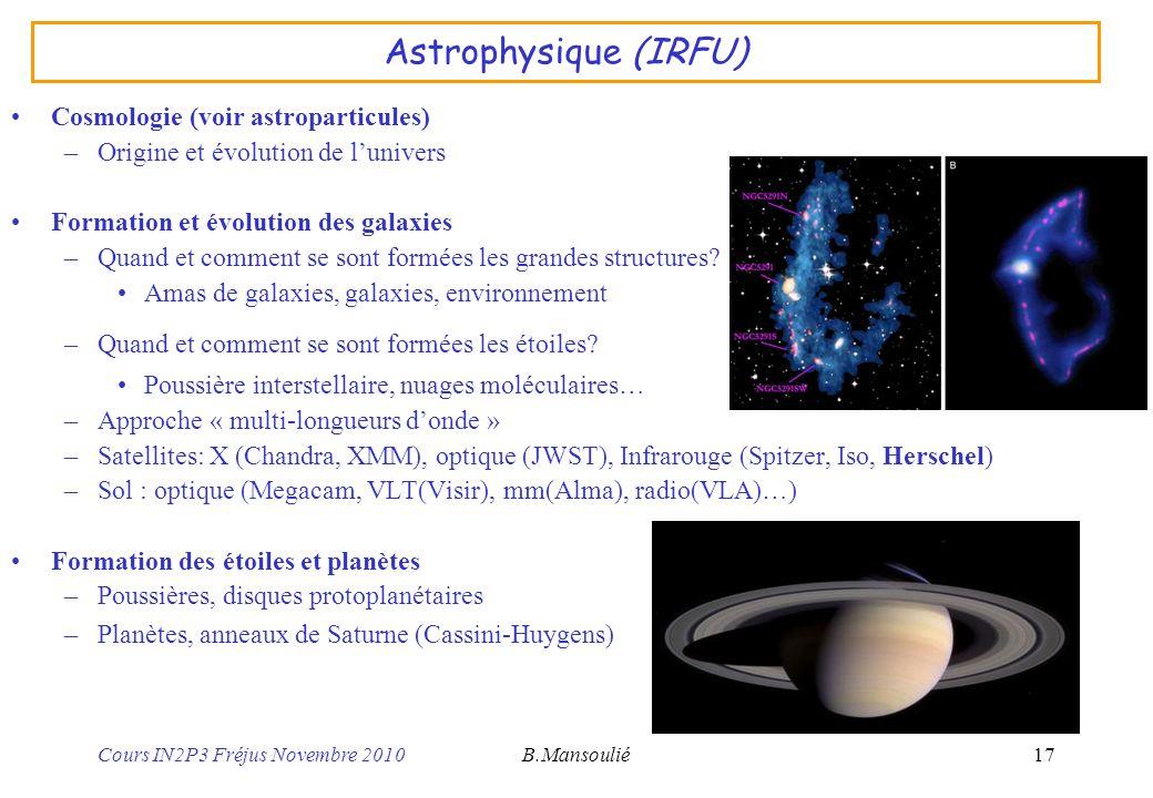 Astrophysique (IRFU) Cosmologie (voir astroparticules)