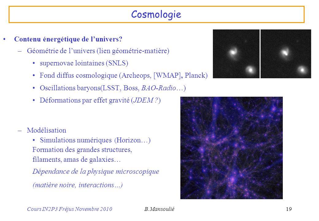 Cosmologie Contenu énergétique de l'univers
