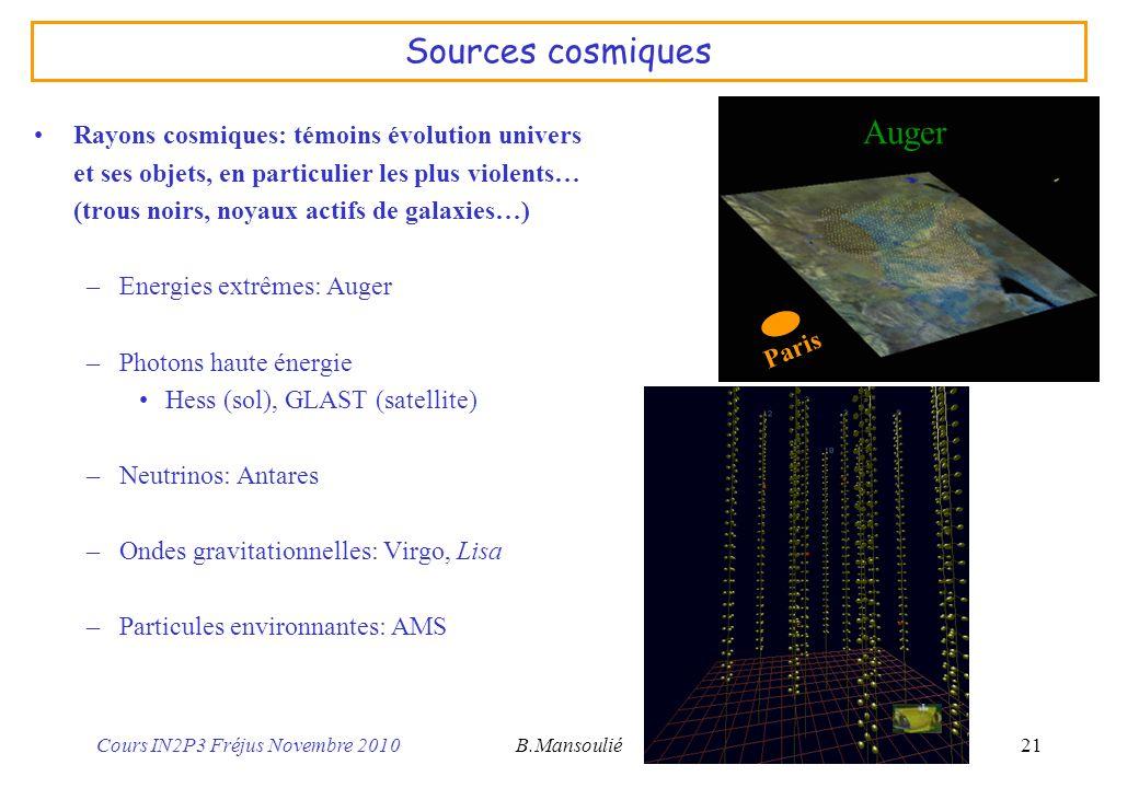 Sources cosmiques Auger Rayons cosmiques: témoins évolution univers