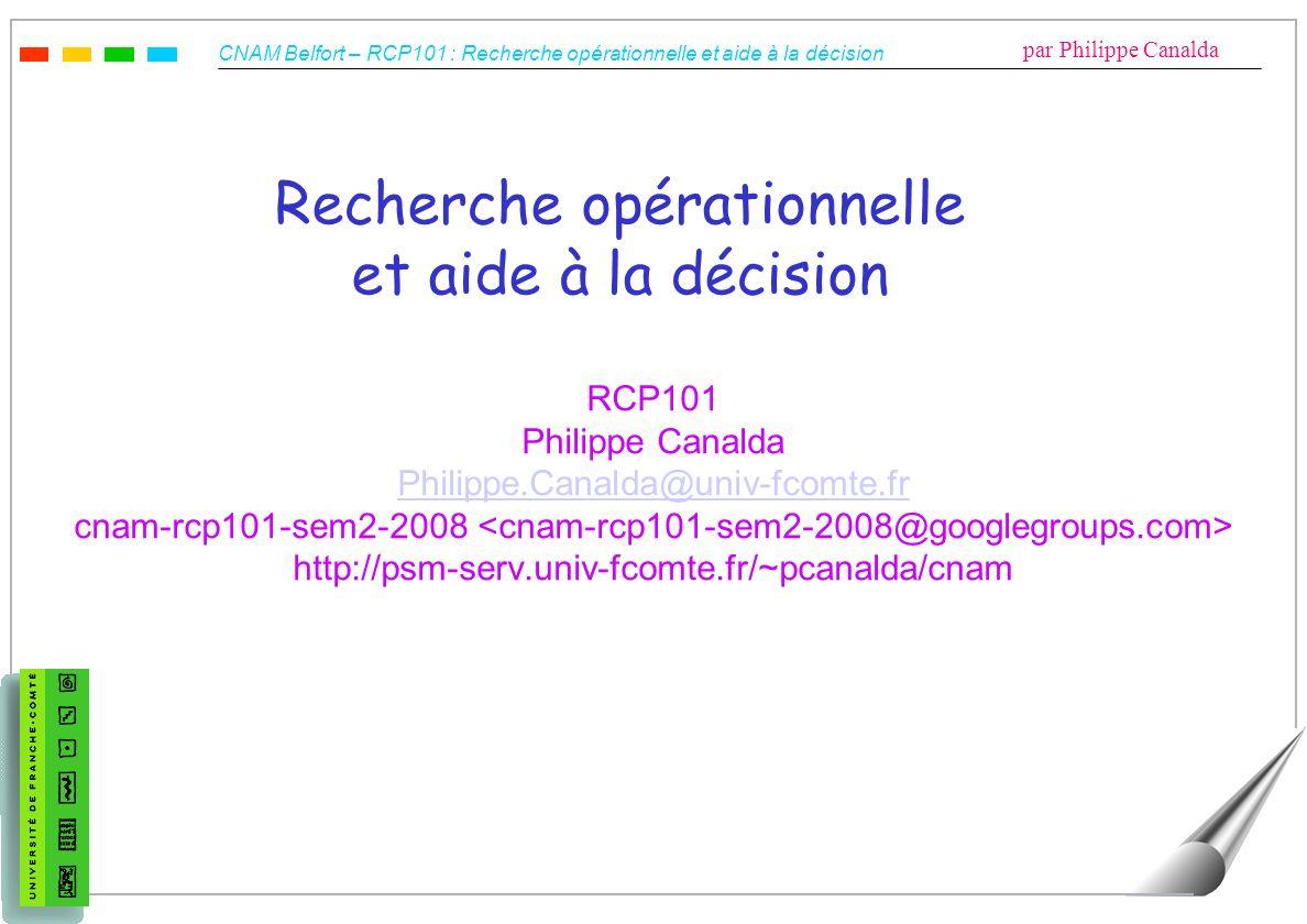 Recherche opérationnelle et aide à la décision