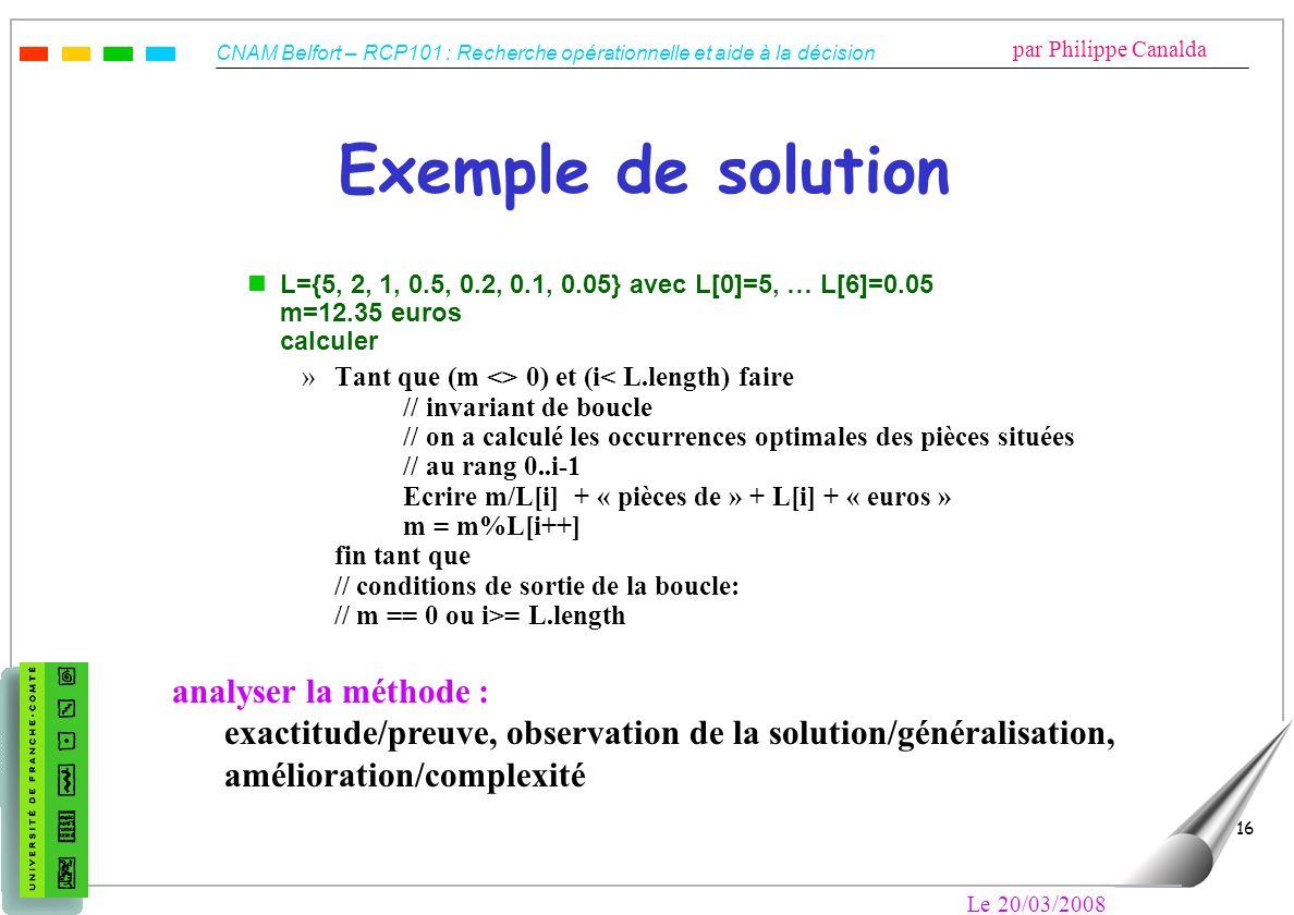 Exemple de solution analyser la méthode :
