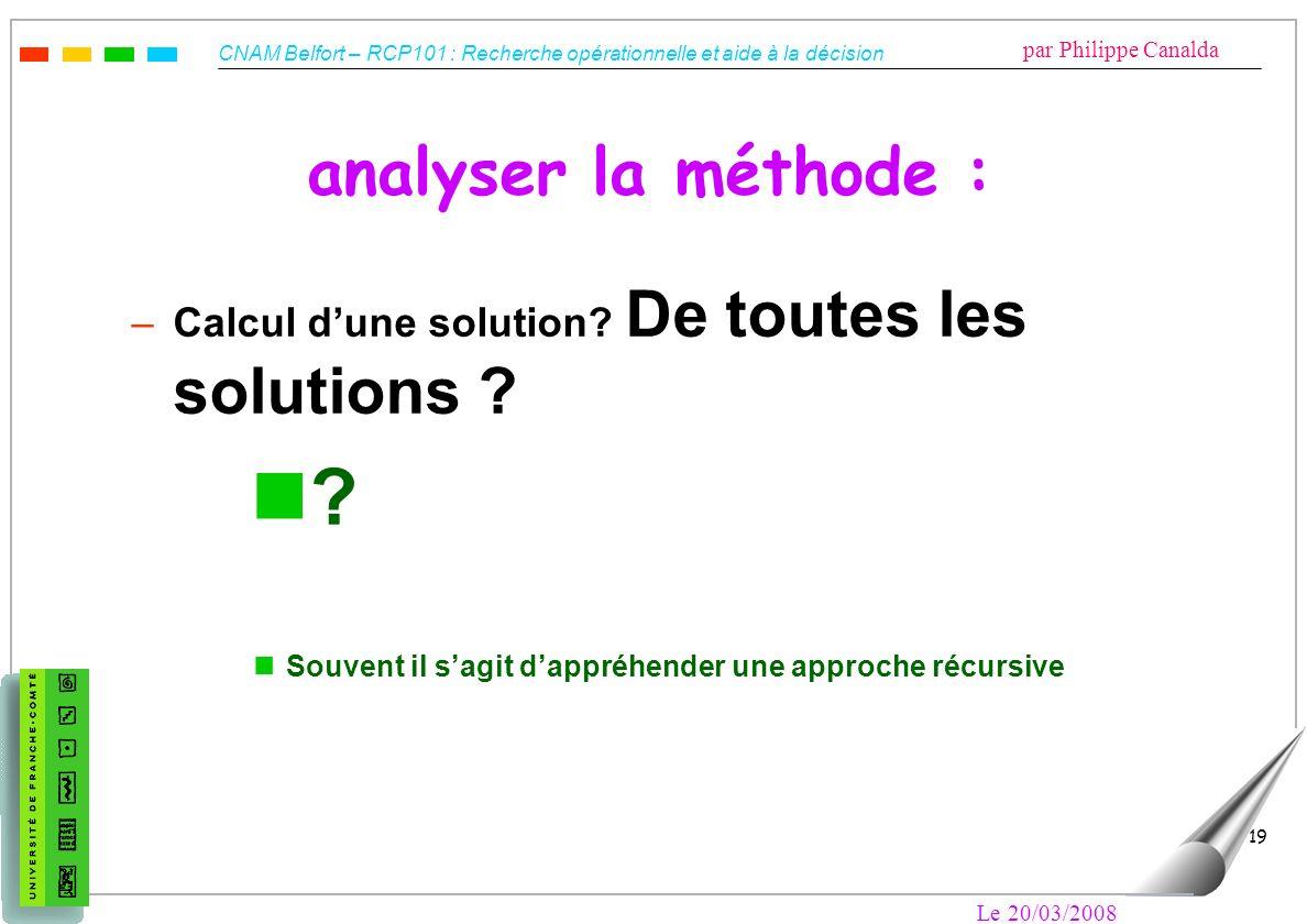 analyser la méthode : Calcul d'une solution De toutes les solutions Souvent il s'agit d'appréhender une approche récursive.