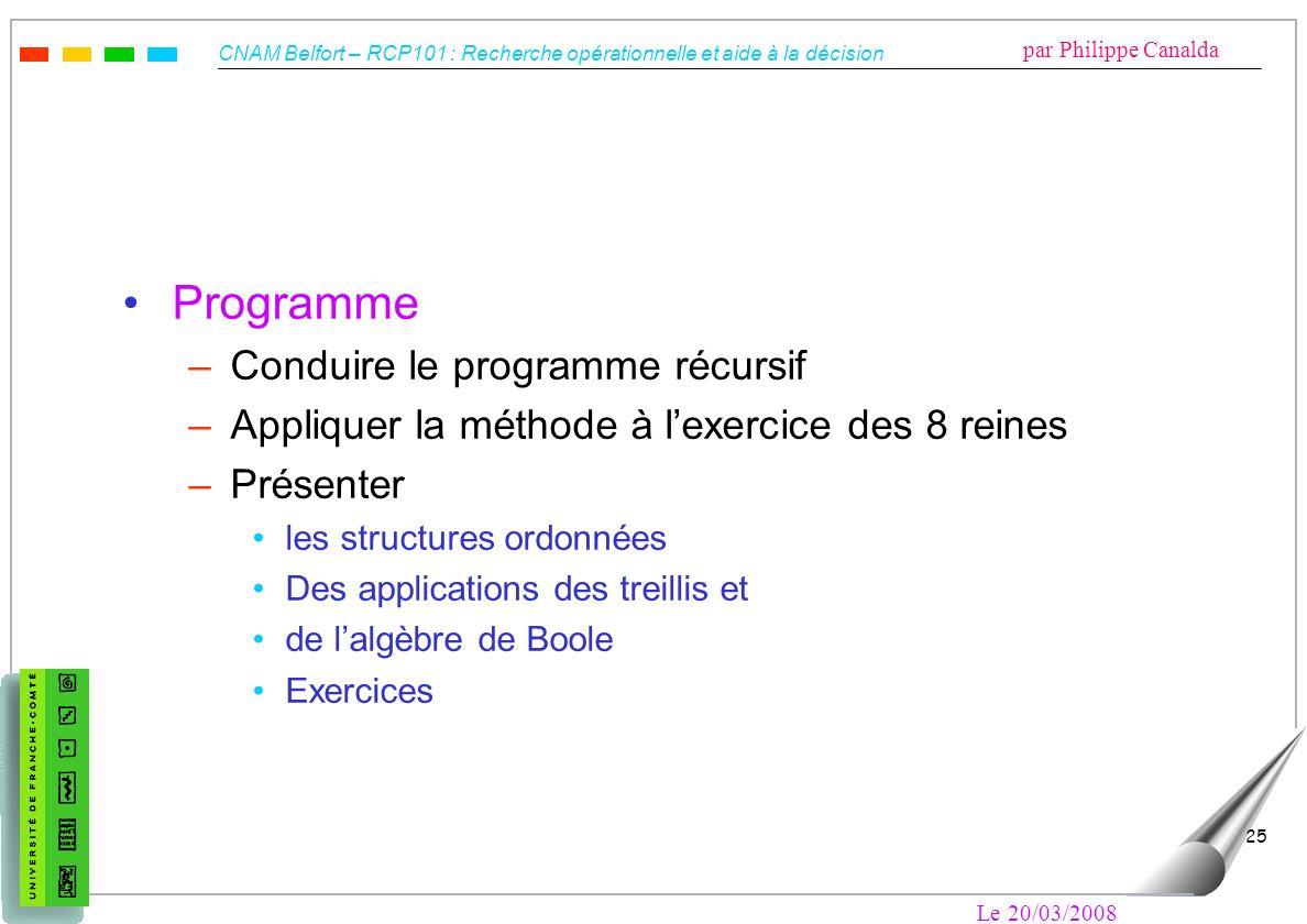 Programme Conduire le programme récursif