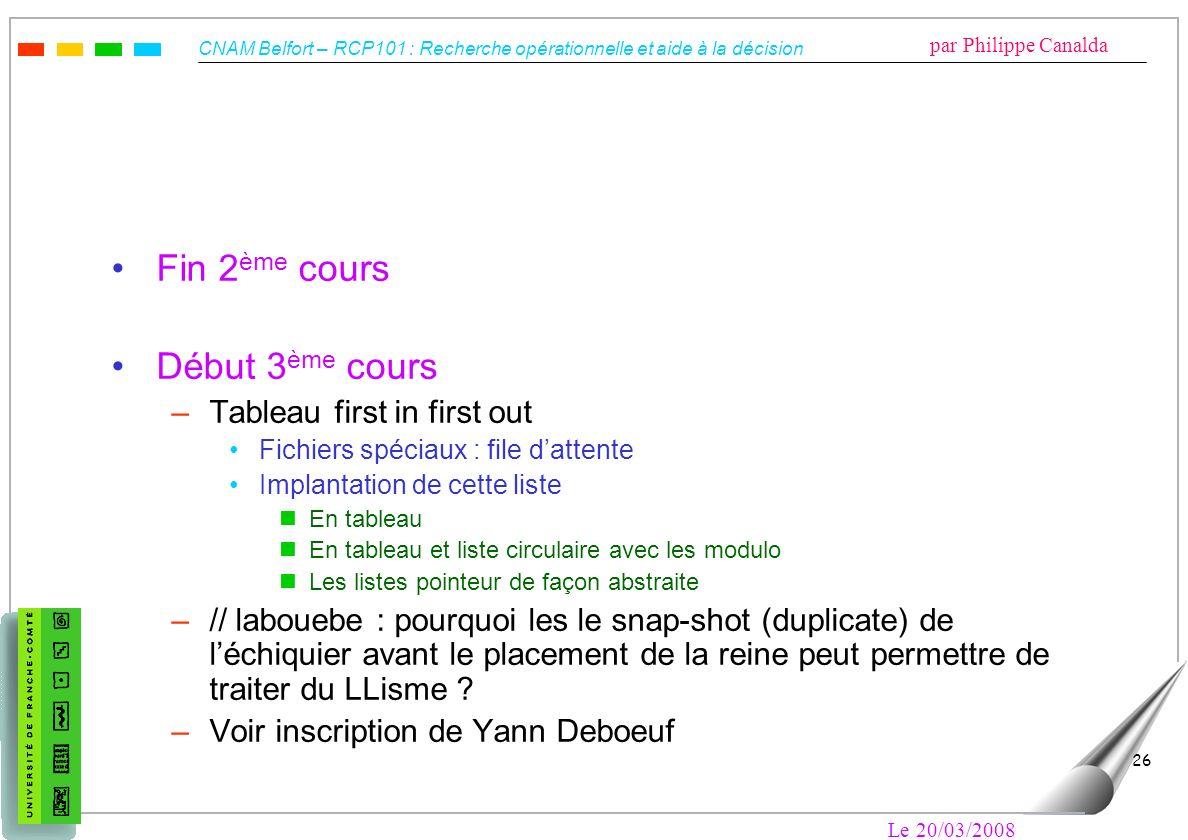 Fin 2ème cours Début 3ème cours Tableau first in first out