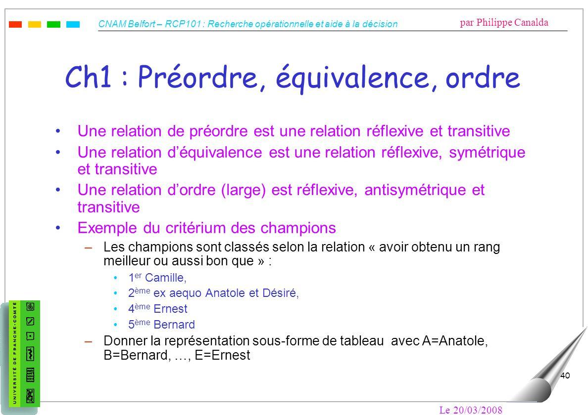 Ch1 : Préordre, équivalence, ordre