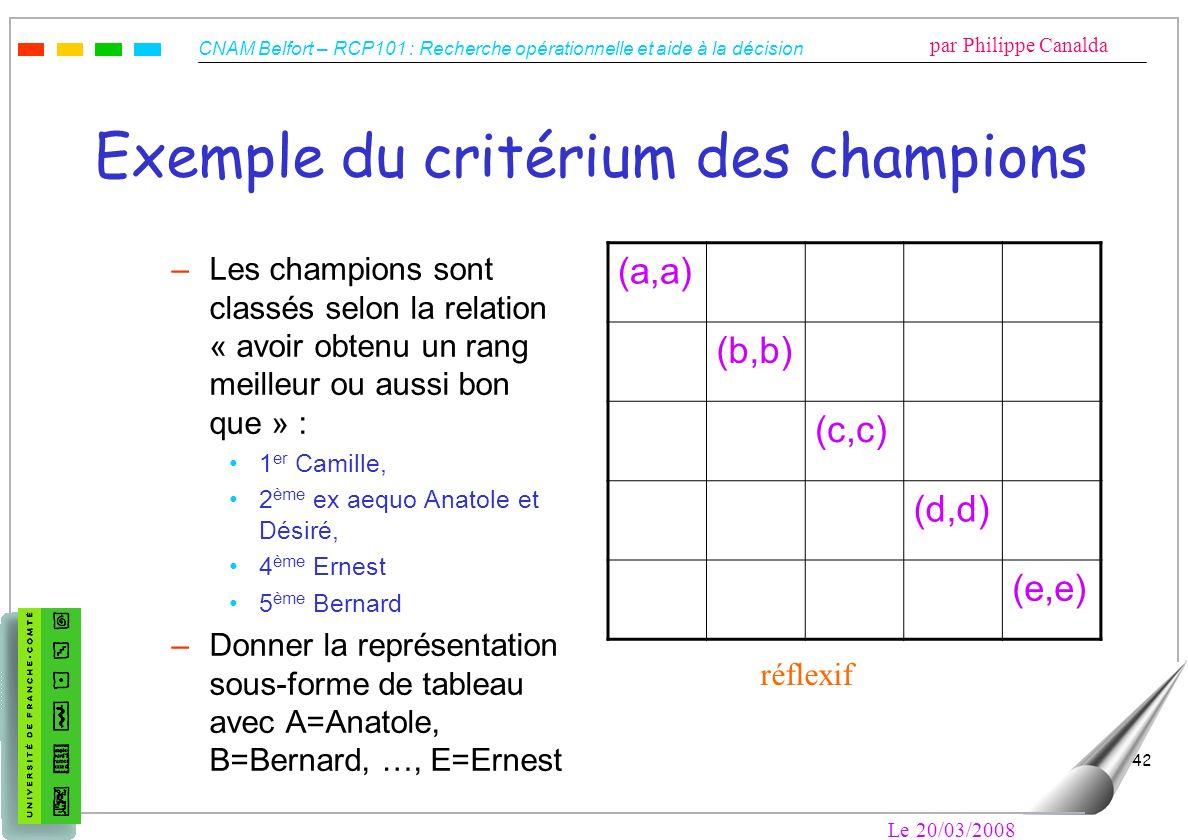 Exemple du critérium des champions