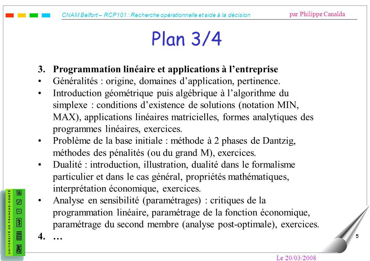 Plan 3/4 3. Programmation linéaire et applications à l'entreprise