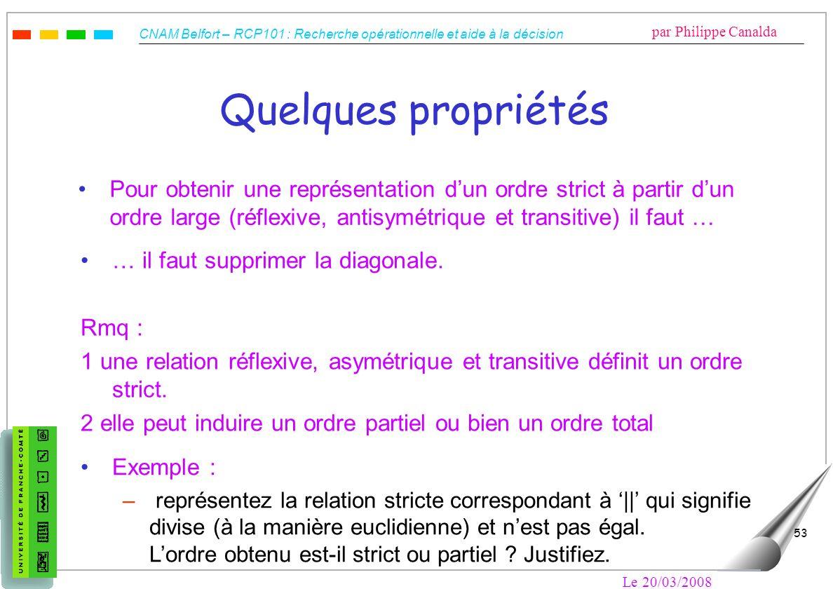 Quelques propriétésPour obtenir une représentation d'un ordre strict à partir d'un ordre large (réflexive, antisymétrique et transitive) il faut …