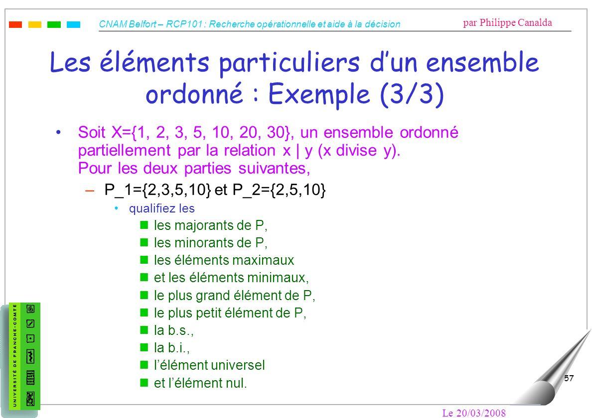 Les éléments particuliers d'un ensemble ordonné : Exemple (3/3)