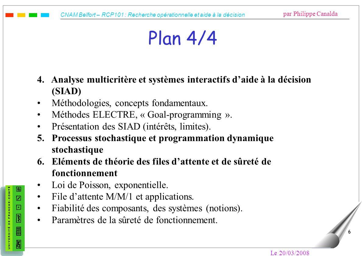 Plan 4/4 4. Analyse multicritère et systèmes interactifs d'aide à la décision (SIAD) Méthodologies, concepts fondamentaux.