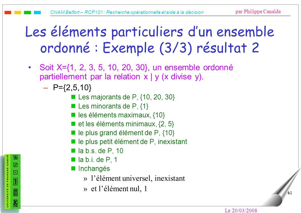Les éléments particuliers d'un ensemble ordonné : Exemple (3/3) résultat 2