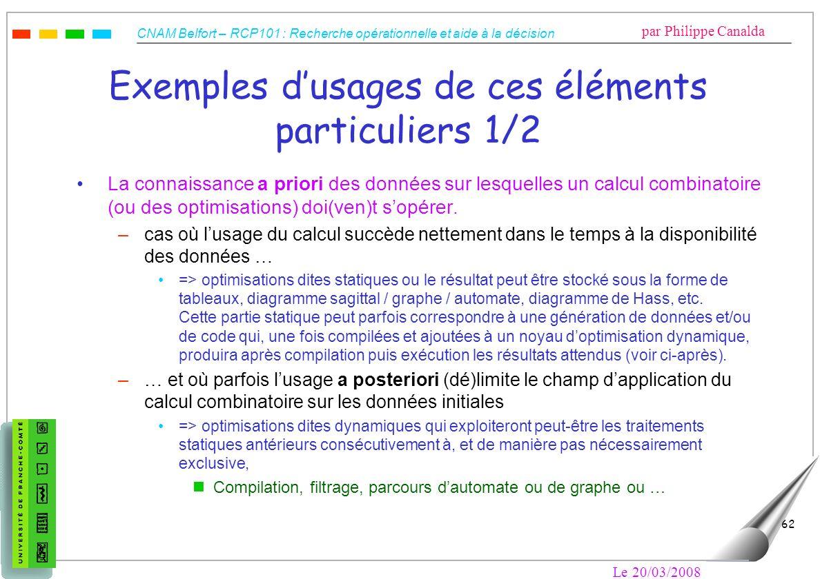 Exemples d'usages de ces éléments particuliers 1/2