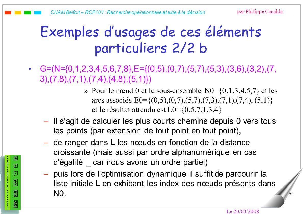 Exemples d'usages de ces éléments particuliers 2/2 b