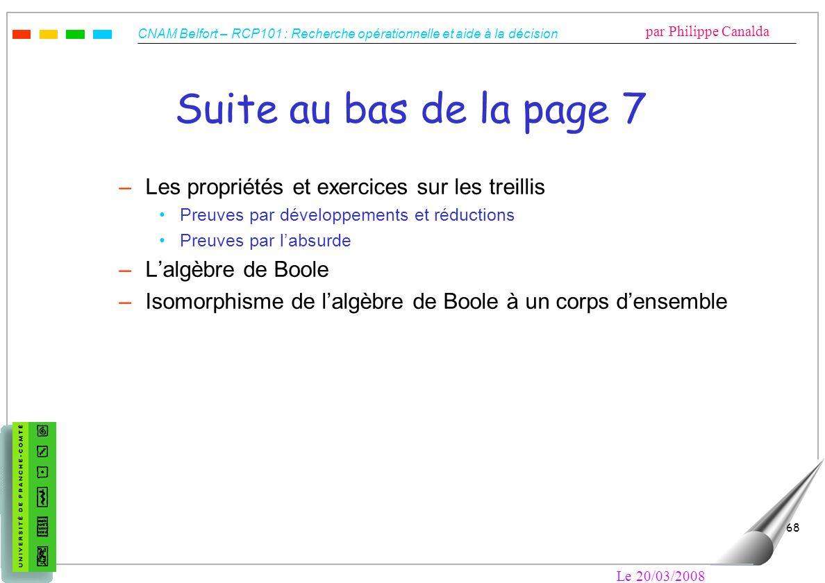 Suite au bas de la page 7 Les propriétés et exercices sur les treillis