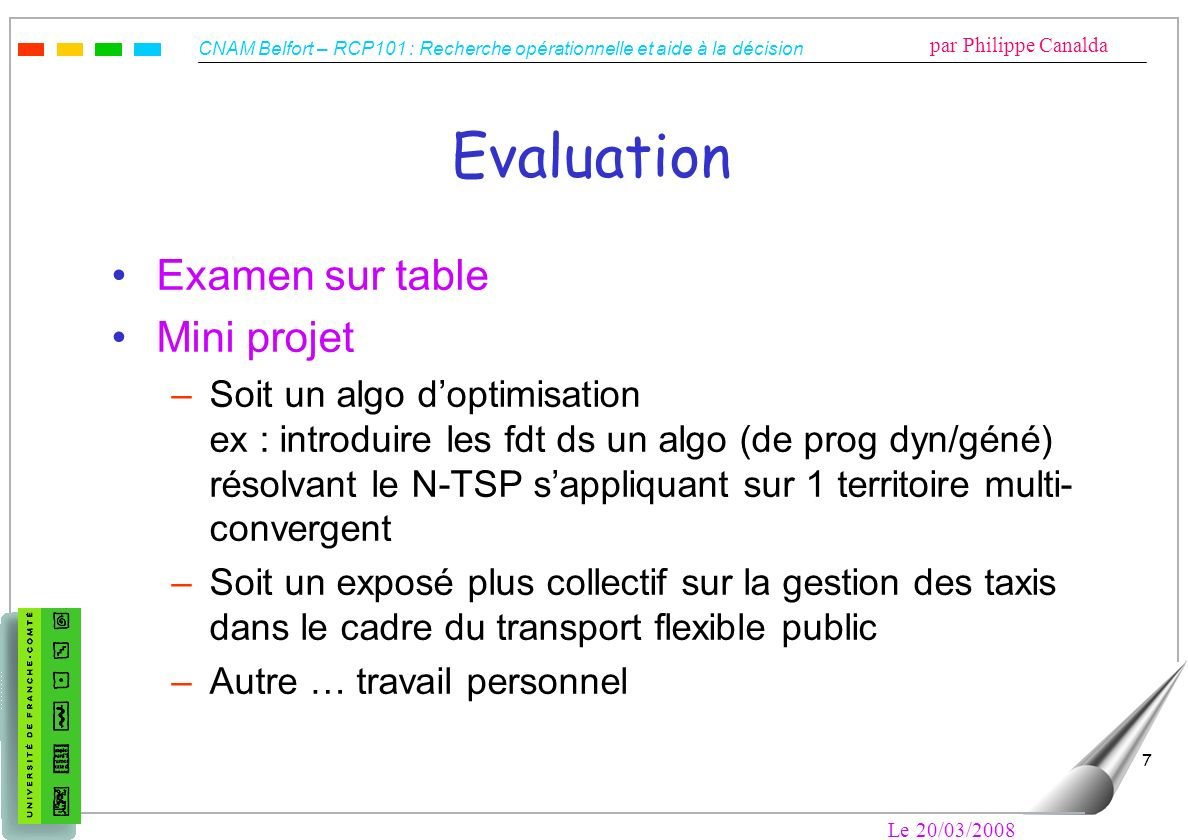 Evaluation Examen sur table Mini projet