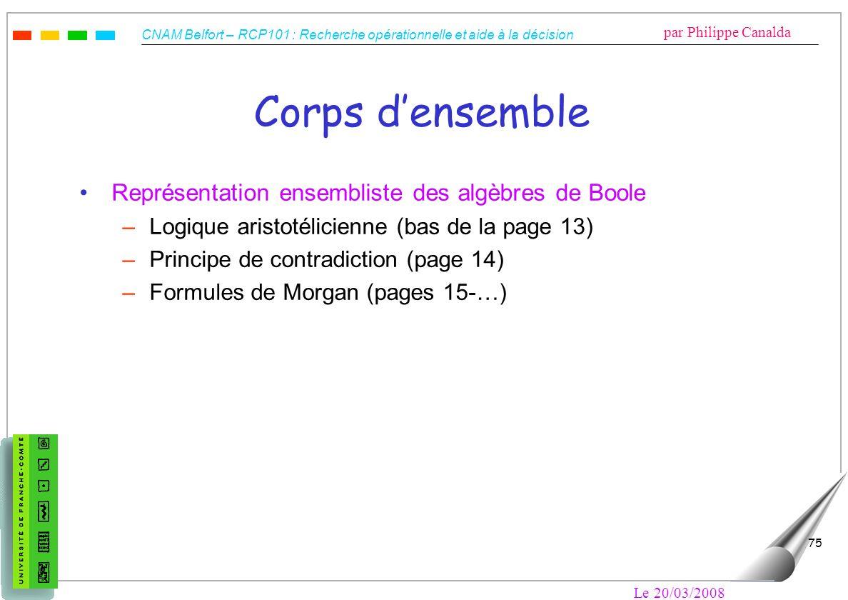 Corps d'ensemble Représentation ensembliste des algèbres de Boole