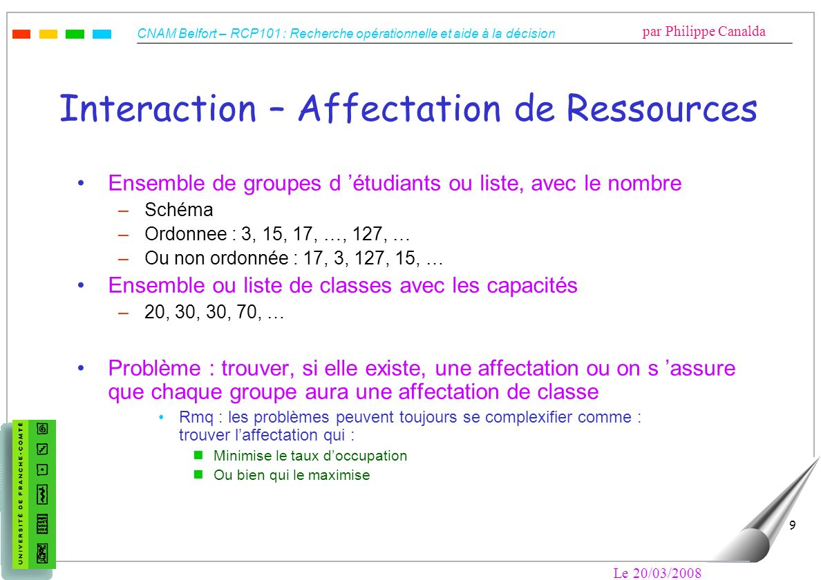 Interaction – Affectation de Ressources