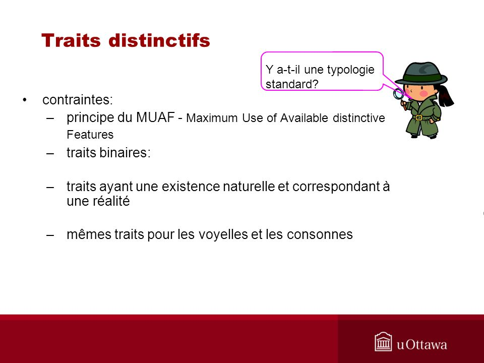 Traits distinctifs contraintes: