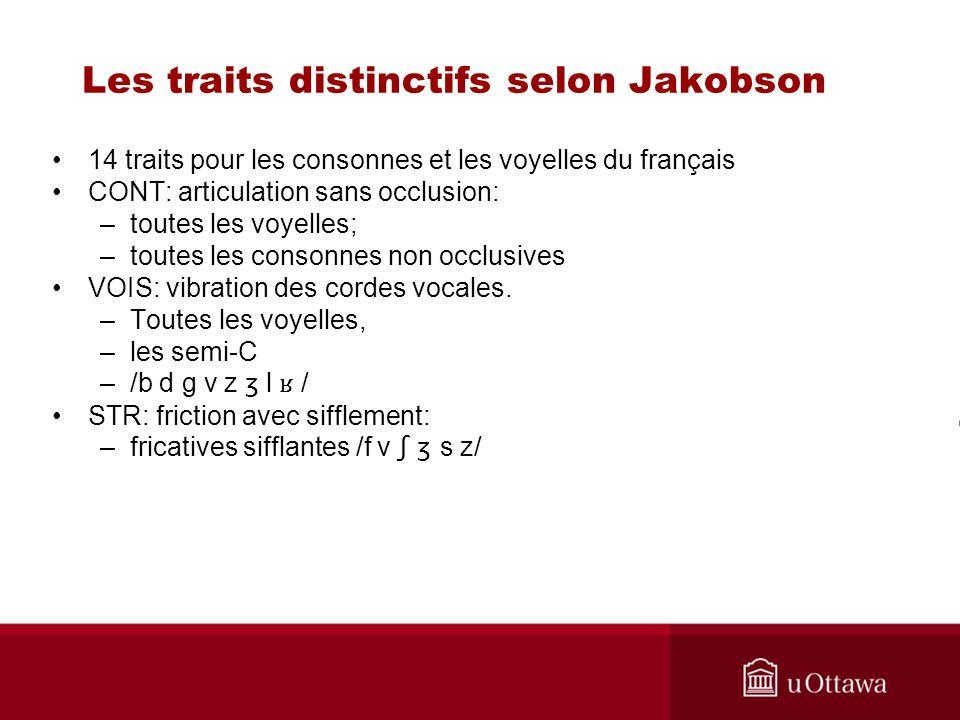 Les traits distinctifs selon Jakobson