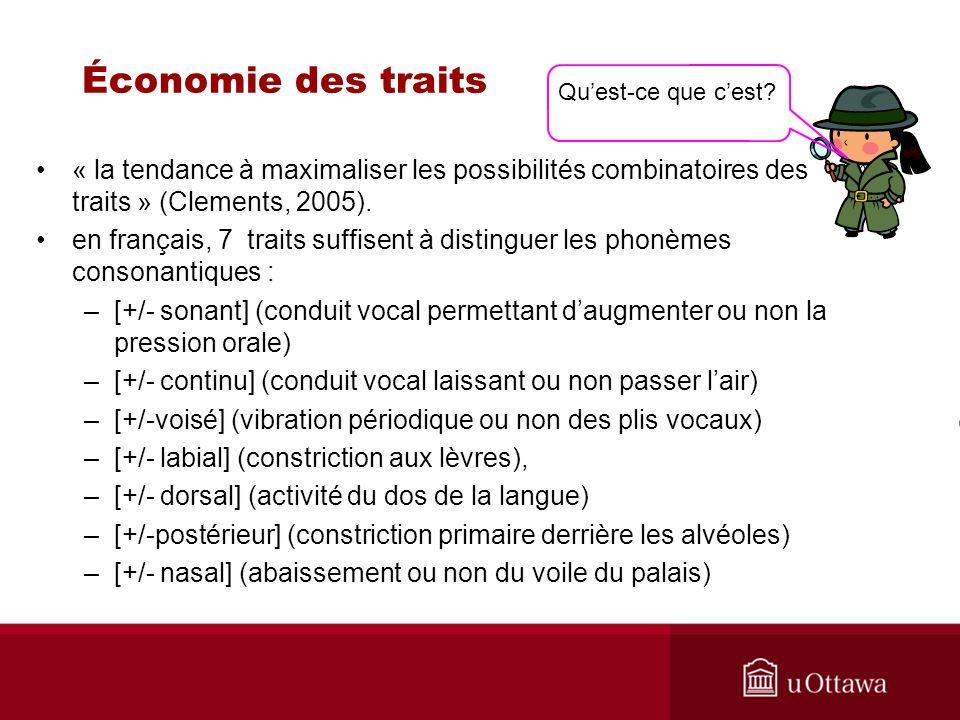 Économie des traits Qu'est-ce que c'est « la tendance à maximaliser les possibilités combinatoires des traits » (Clements, 2005).
