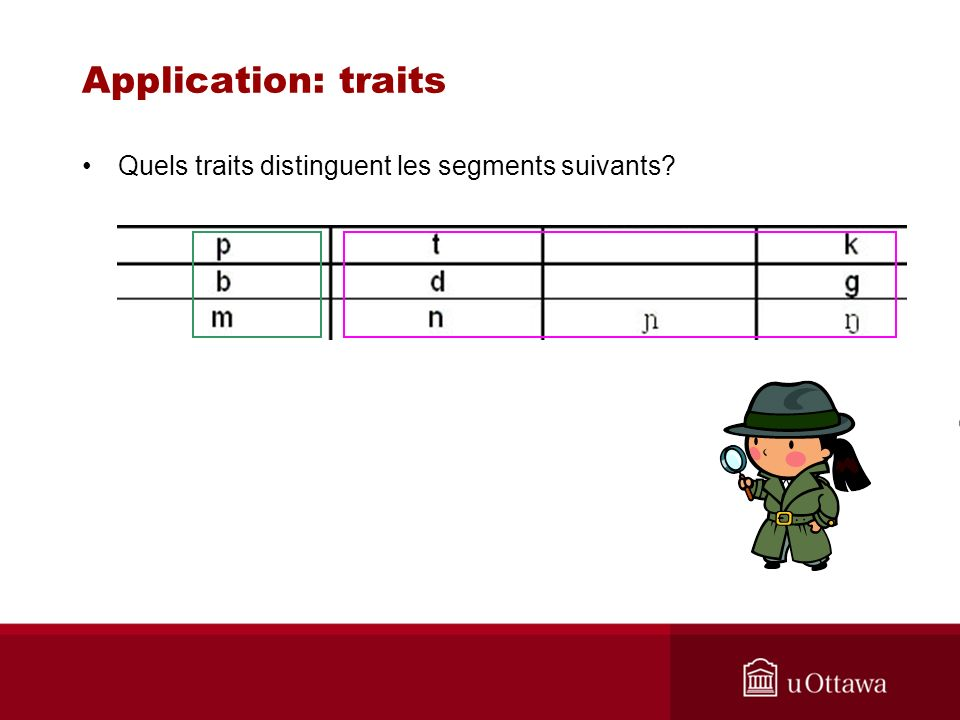 Application: traits Quels traits distinguent les segments suivants