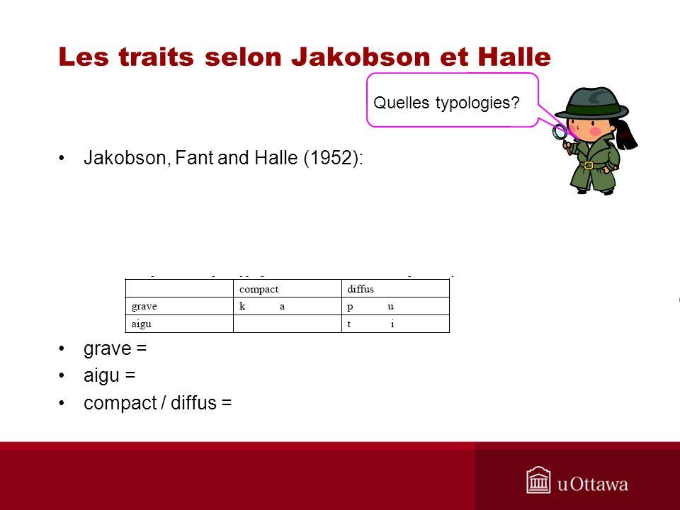 Les traits selon Jakobson et Halle