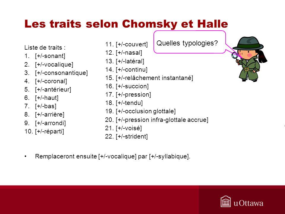 Les traits selon Chomsky et Halle