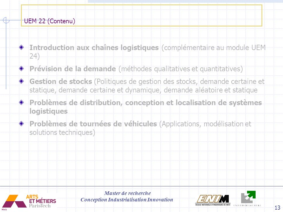 Introduction aux chaînes logistiques (complémentaire au module UEM 24)