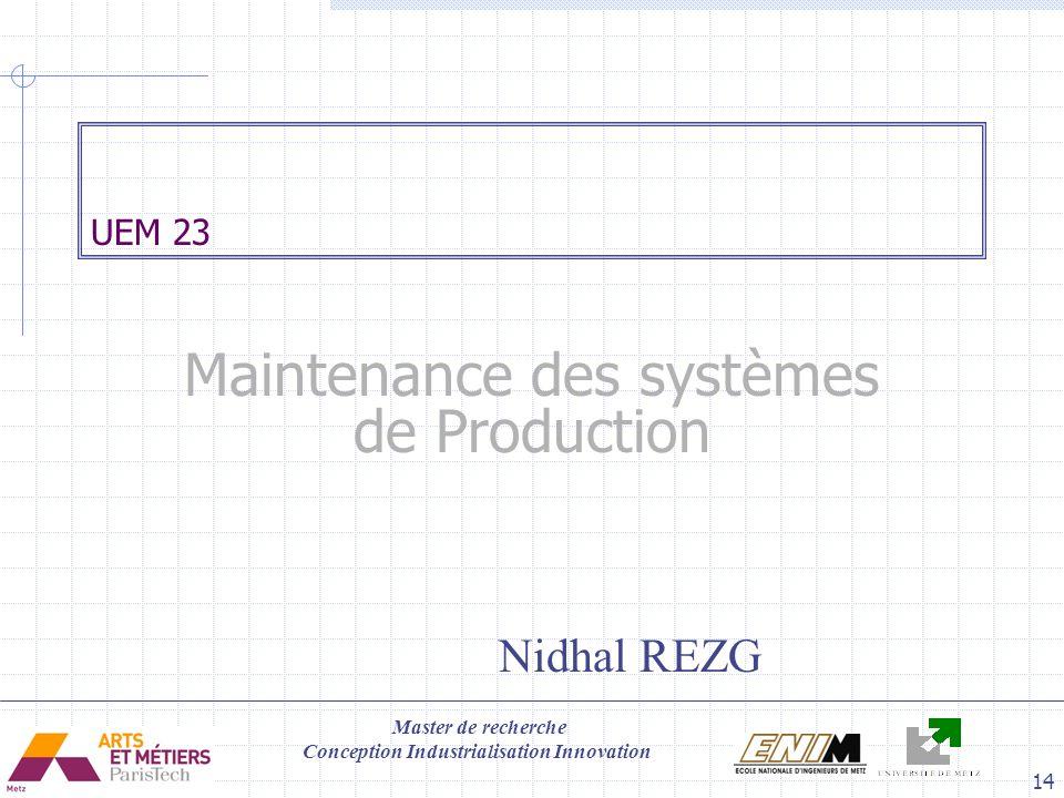 Maintenance des systèmes de Production