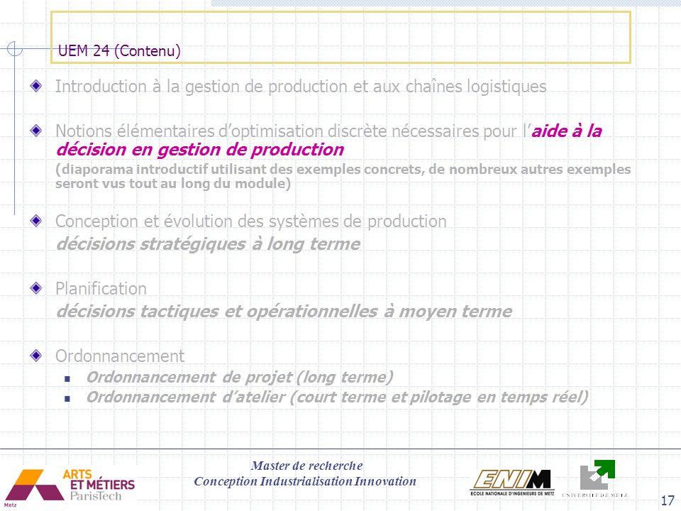 Introduction à la gestion de production et aux chaînes logistiques