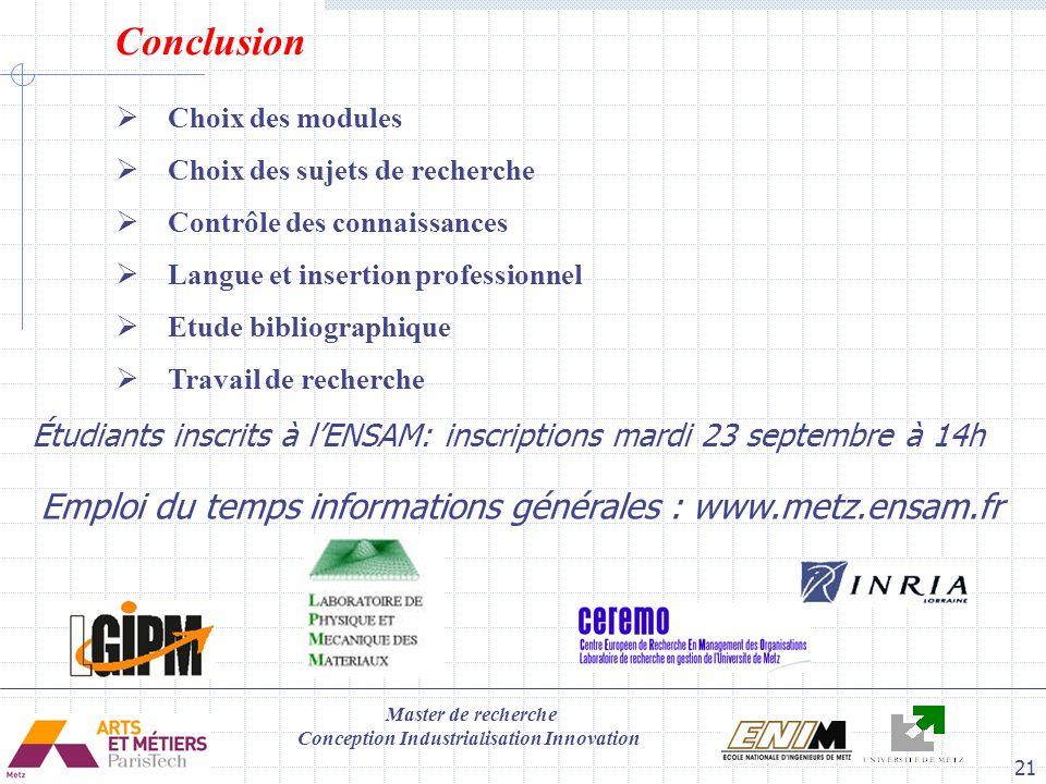 Emploi du temps informations générales : www.metz.ensam.fr