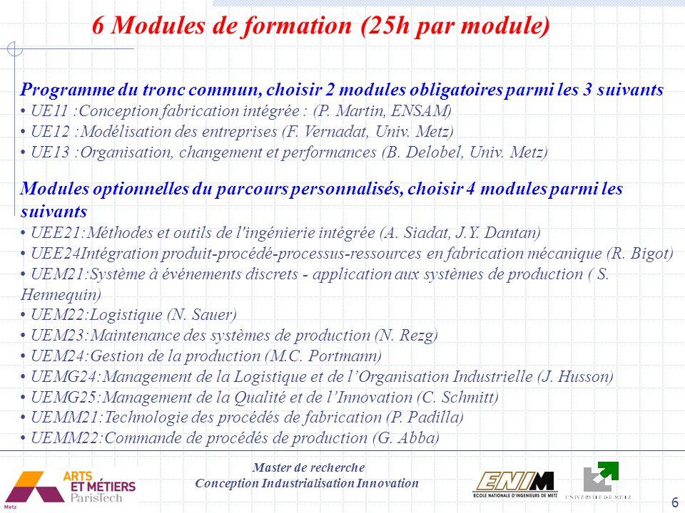 6 Modules de formation (25h par module)
