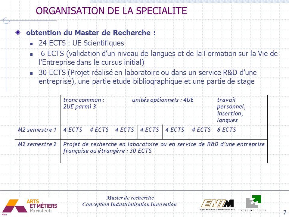 ORGANISATION DE LA SPECIALITE