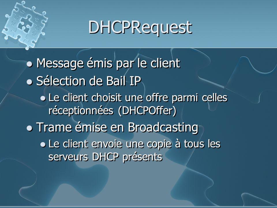 DHCPRequest Message émis par le client Sélection de Bail IP