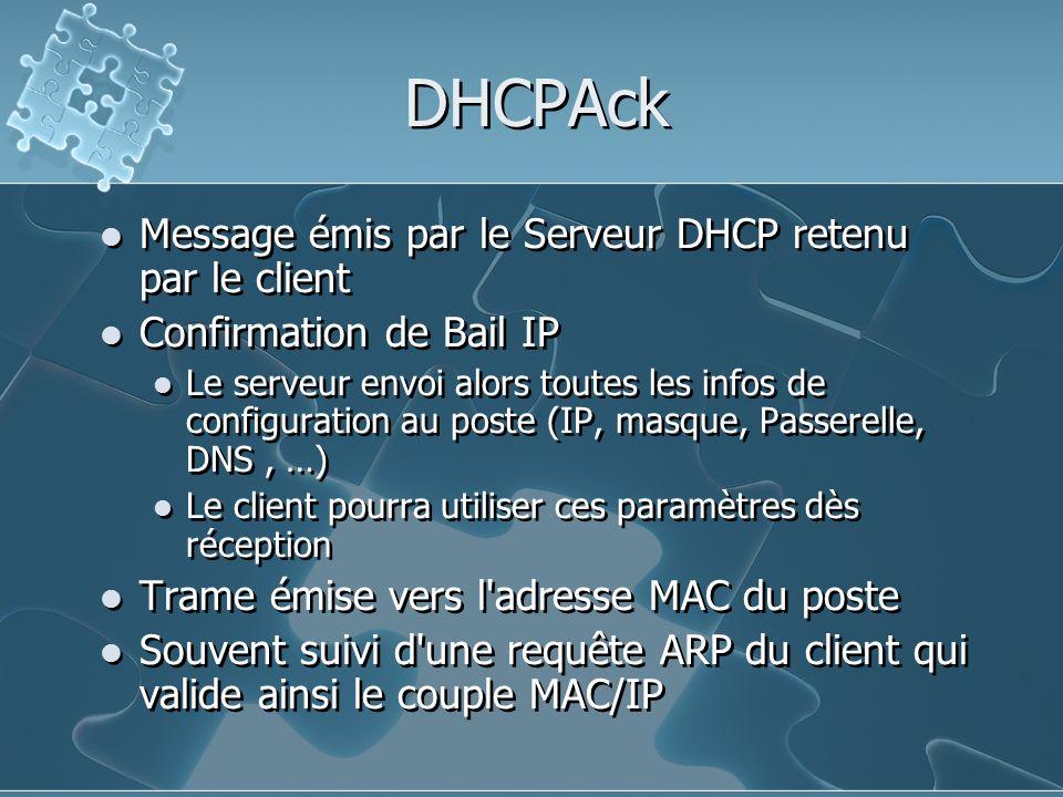 DHCPAck Message émis par le Serveur DHCP retenu par le client