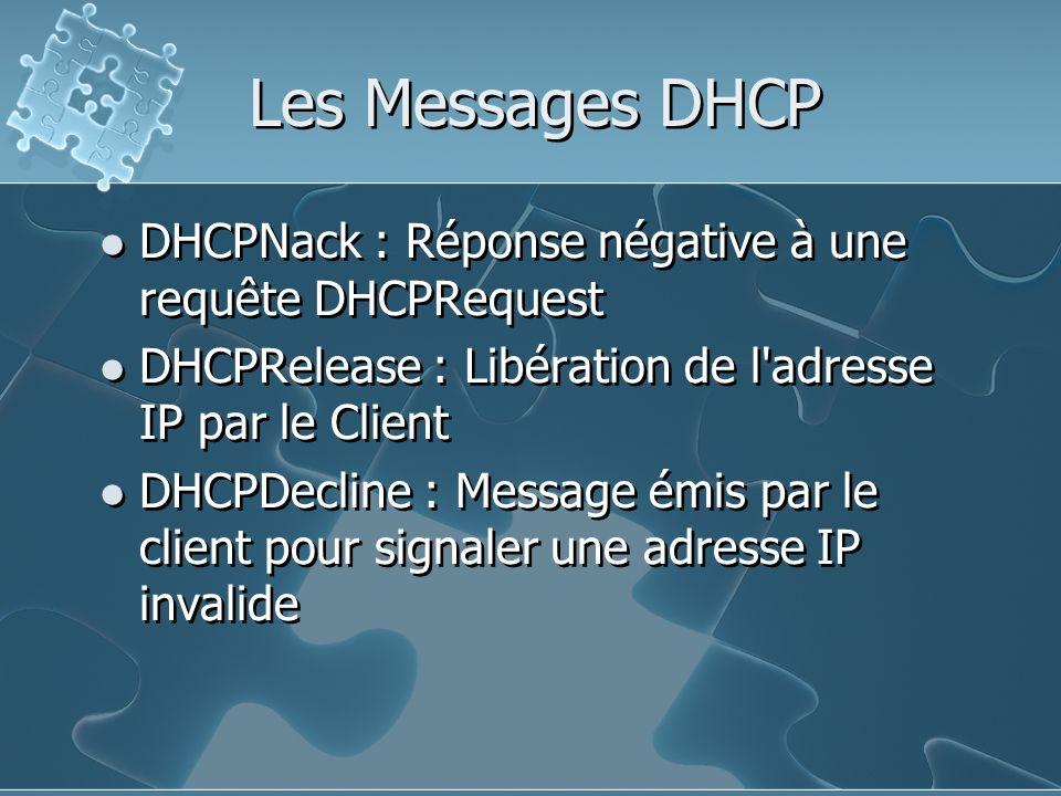Les Messages DHCP DHCPNack : Réponse négative à une requête DHCPRequest. DHCPRelease : Libération de l adresse IP par le Client.