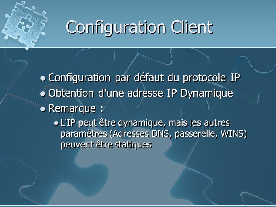 Configuration Client Configuration par défaut du protocole IP