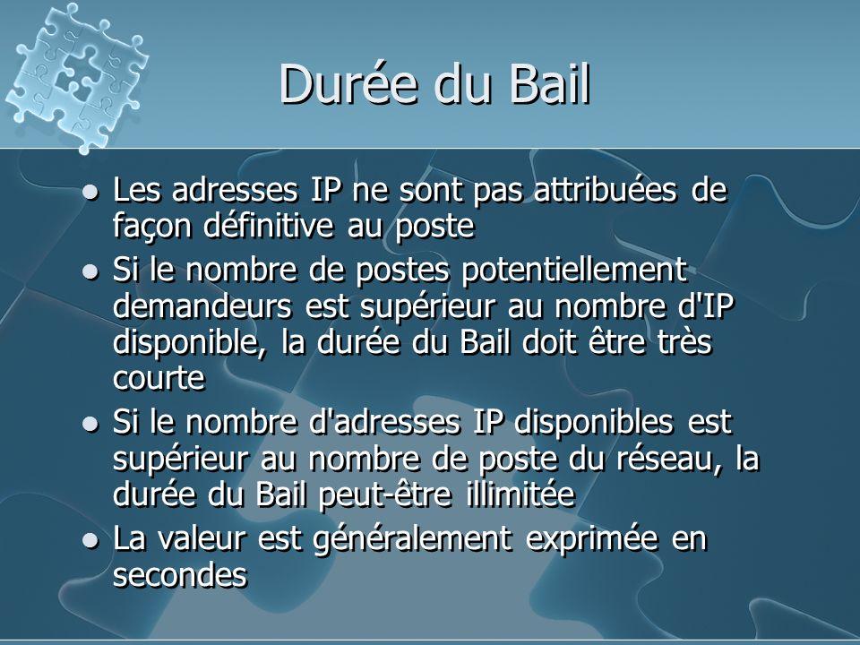 Durée du Bail Les adresses IP ne sont pas attribuées de façon définitive au poste.