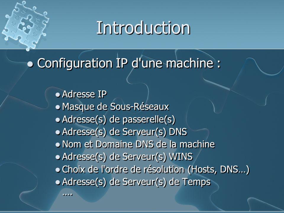 Introduction Configuration IP d une machine : Adresse IP