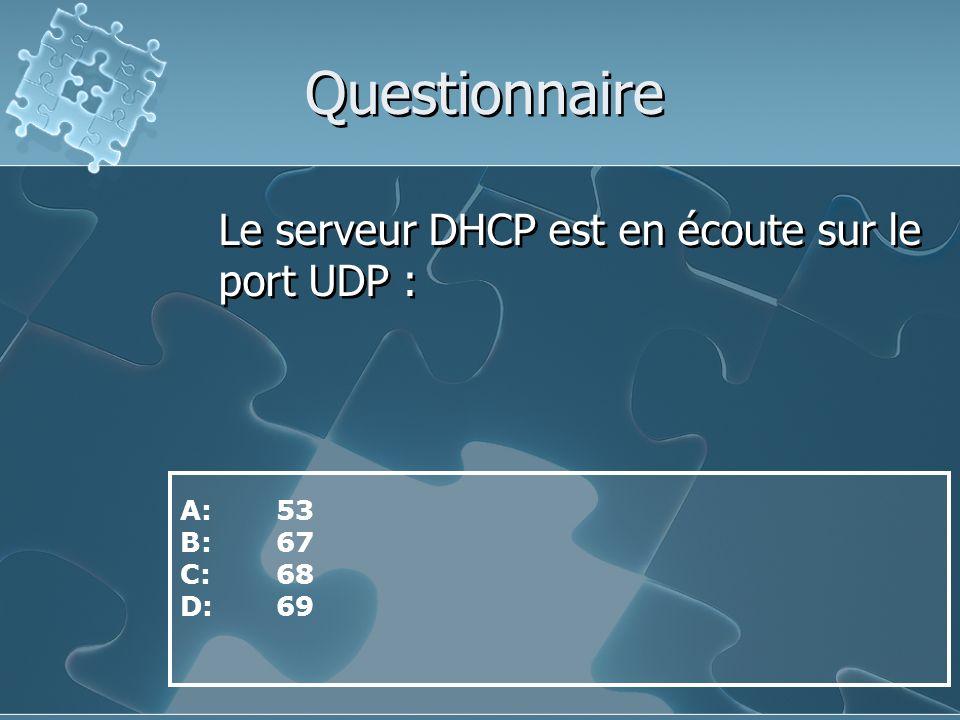 Questionnaire Le serveur DHCP est en écoute sur le port UDP : A: 53