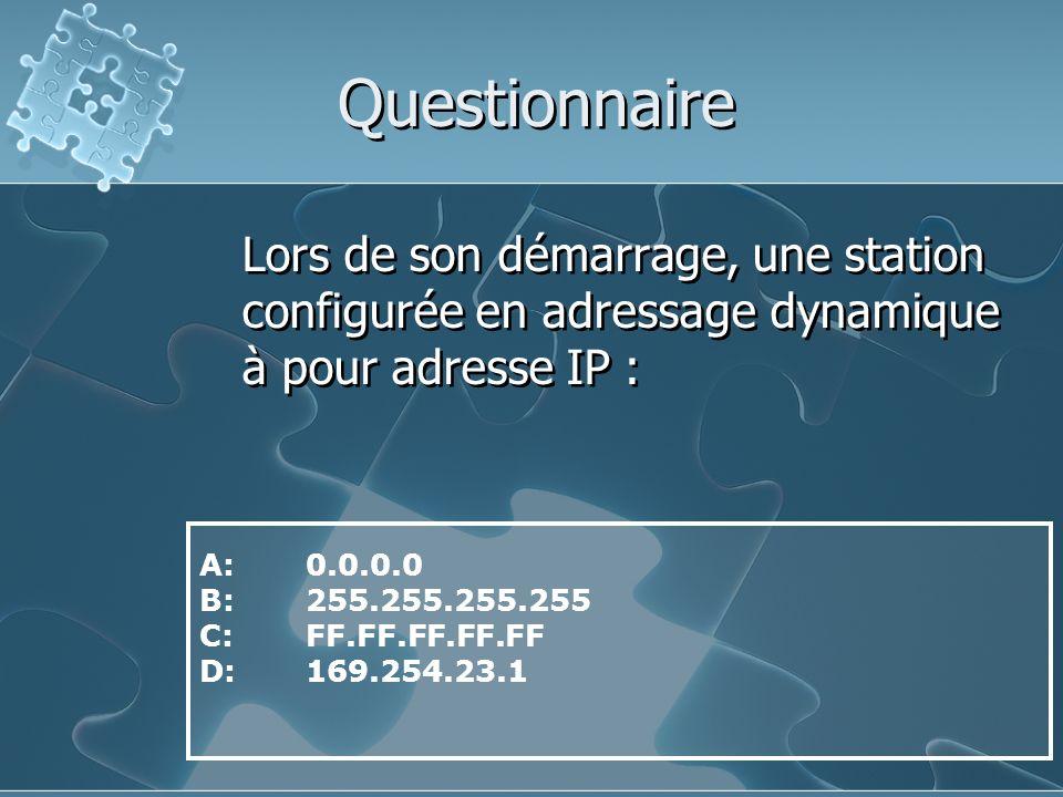 Questionnaire Lors de son démarrage, une station configurée en adressage dynamique à pour adresse IP :