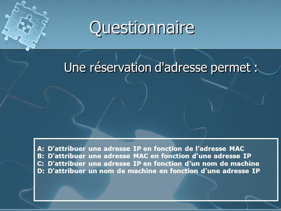 Questionnaire Une réservation d adresse permet :