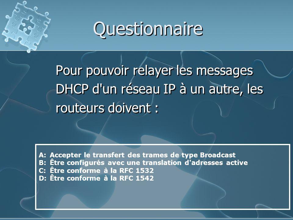 Questionnaire Pour pouvoir relayer les messages