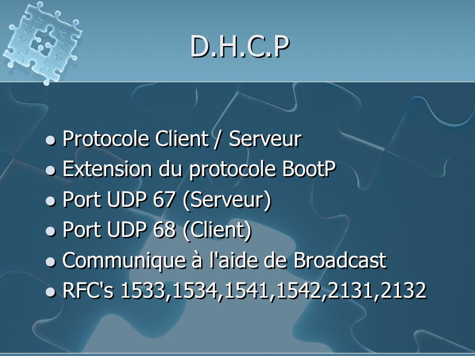 D.H.C.P Protocole Client / Serveur Extension du protocole BootP
